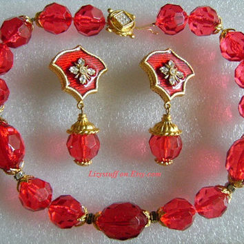 GERARD YOSCA Super Sexy Red Cherry or Ruby Color Chunky Faceted Crystal/Glass Beads Necklace & Golden Rhinestone Enamel Big Dangle Earrings