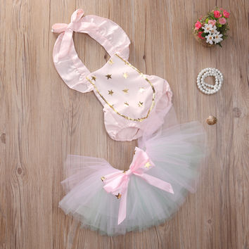 Dreamy Gold Star Baby Romper with Tutu Skirt