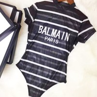 BALMAIN Popular Womenr Sexy Stripe Print One Piece Bikini Swimsuit Bodysuit