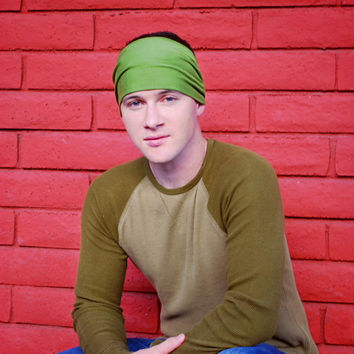 Mens Headband, Green Headband, Extra Large Headbands, Stretch Headband (Item 1004) X-Large