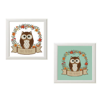 Be Wise Owl baby cross stitch pattern Animals Woodland room unique decor unique baby gift Nursery decor Woodland Animals Instant Download