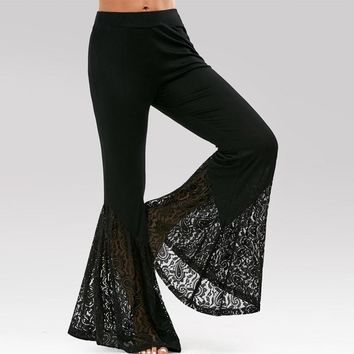 Women Fashion High Waisted Lace Insert Bell Bottom Flared Pants - Free Shipping