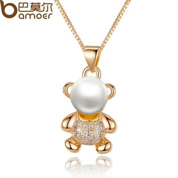 Gold Color Animal Bear Necklaces & Pendants with Paved Micro AAA CZ Cubic Zircon For Women Jewelry JIN021