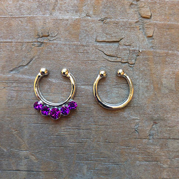 Set of 2 Silver Small Clip On Nose Ring, Rhinestone Faux Septum Piercing