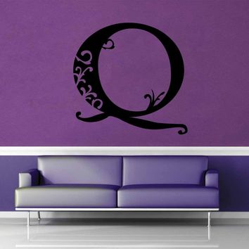 Floral Monogram - Q - Wall Decal$8.95