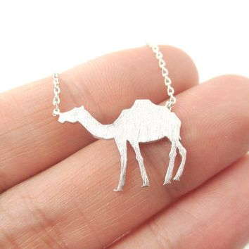 Camel Silhouette Shaped Pendant Necklace in Silver | Animal Jewelry