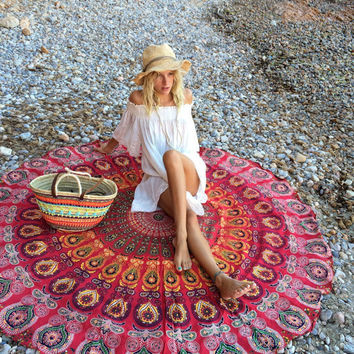 Bohemia Bain Para Playa Toallas Pashmina 140cm Bedding Outlet Round Beach Scarf Fire Peacock Mandala Chiffon Beach Swim Towels