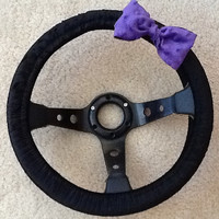 Black steering wheel cover with Purple minky bow