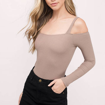 Ariana Cold Shoulder Ribbed Bodysuit