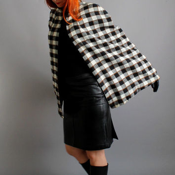 1960s Black & White Check Cape. Reversible. Mod. Mad Men. Fall Fashion. Winter