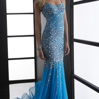 Long Beaded Sweetheart Formal Gown