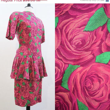 REDUCED 80s Dress Vintage Nicole Miller Roses Floral Pink Peplum Day Dress S M