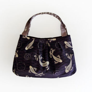 Koi fish bag fabric purse small tote bag purple handbag gift for her