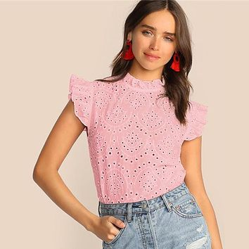 Mock-Neck Ruffle Trim Embroidery Eyelet Top Boho Solid Sleeveless Stand Collar Blouse Women Tops Blouses