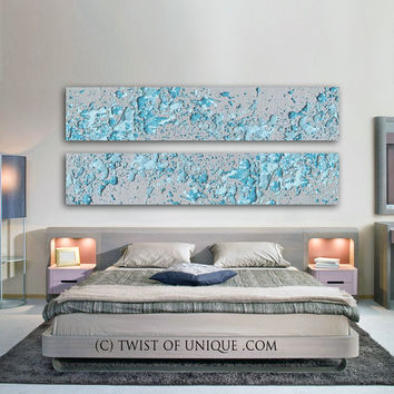 Silver Abstract Paintings, 2 panel CUSTOM (72 Inches x 15 Inches) Melted Metal Wall Art, - silver, metal, Blue, Turquoise