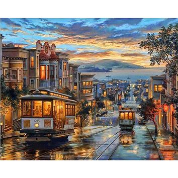 Frameless City Night Bus Diy Digital Oil Painting By Numbers Landscape Modern Wall Art Canvas Painting Unique Gift Wall Artwork