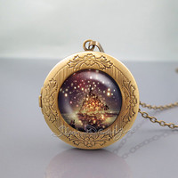Tangled the lights Photo Locket Necklace,Tangled the lights Art,vintage pendant Locket Necklace