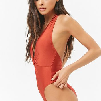 Sheeny Halter Twist-Front One-Piece Swimsuit