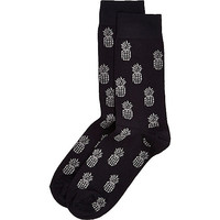 River Island MensNavy pineapple print socks