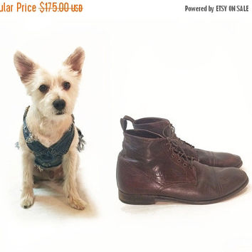 SUMMER SALE Vintage Mens Brown Leather Paul Smith Lace Up Ankle Chukka Boots || Mahogany Brown || Made In Italy || US size 12  || Uk 9.5 ||