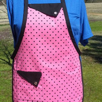 Pink with Black Polka Dots Full Lined Apron