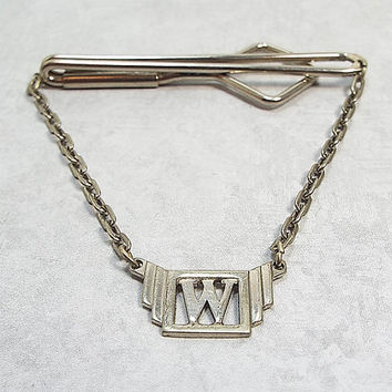 Swank Vintage Cravat Holder Silver Tone Tie Bar with Chain Letter Initial W Art Deco 1930s Mens Formal Wedding Best Man Groom Gift