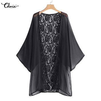 Women Summer Chiffon Blouse Celmia 2018 Lace Cape Kimono Cardigan Coat Hollow Out Shirts Female Cover Up Tops Blusa Femininas