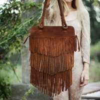 Fringe Brown Leather Bag //Made to order // by SABRINATACH