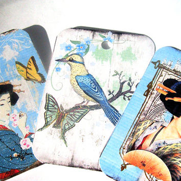 Japanese Women Gift Tags Set of 9 Garden Birds Traditional Dress Butterflies Geisha
