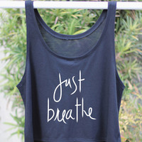 Flowy Crop Top Just Breath Tank - Yoga Tank - Flowy Yoga Shirt - Boxy Shirt - Yoga - Yoga Tank - Yoga Top - Yoga Clothes - Boxy Tank Top