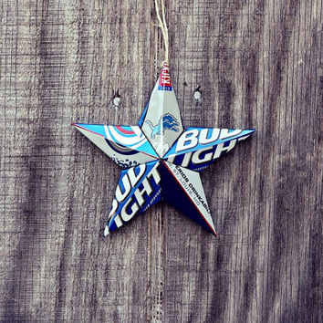 The Sports Stars Ornament Collection - Detroit Lions NFL  Football Bud Light Beer Can Star