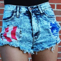 Acid Wash High Waist Denim Shorts with Flag Print Pockets