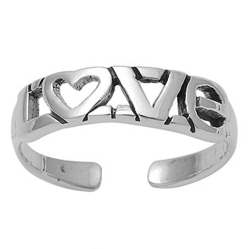 Sterling Silver Love Word Heart 5MM Toe Ring/ Knuckle/ Mid-Finger