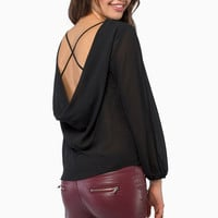 Criss-Cross Back Long Sleeve Chiffon Blouse