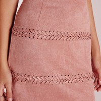 Missguided - Stitch Detail Faux Suede Mini Skirt Mauve