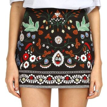 Spring Summer Short Skirt High Waist Slim Retro Embroidery Floral Women Skirt Vintage 90's Corduroy Mini Skirts