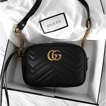 Gucci Women Shopping Chain Leather Crossbody Satchel Shoulder Bag F