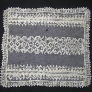 Vintage Embroidered Lace on Net Doily in Ivory or Ecru- 15.5 x 14 Inches - Circa 1940s or Earlier