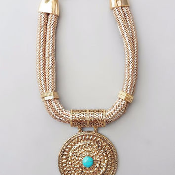 Mesopotamian Turquoise Sun Necklace