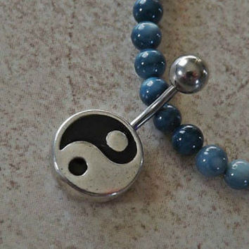 Yin Yang Belly Ring Fits in Navel 14ga surgical steel Yoga Body Jewelry Body