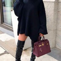 New Navy Blue Irregular High-low Lantern Sleeve Oversized Casual Sweatshirt Mini Dress