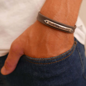 Men's Bracelet - Men Inspirational Bracelet - Men Leather Bracelet - Men's Jewelry - Men Gift - Boyfriend Gift - Husband Gift - Guys Jewelry