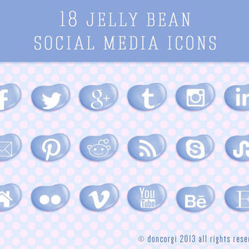 18 Candy Party Jelly Bean Social Media Icons - 3 sizes (128px, 72px, 48px) - 3 Colors- .png + PSD Files - Instant Download