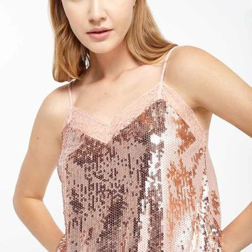 Sequin & Lace Spaghetti Strap Cami Top