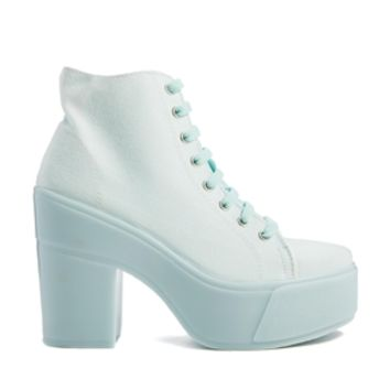 Shelly's London Mint Blue Lace Up Ankle Boots
