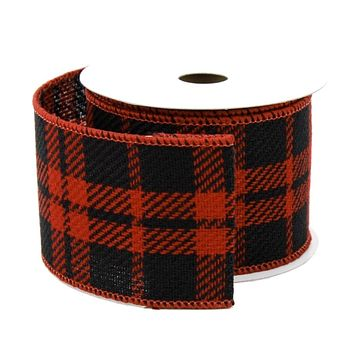 Plaid Gingham Faux Burlap Ribbon Wired Edge, Black/Red, 2-1/2-Inch, 10 Yards