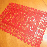 Vintage Red 18x13 inch lace doily, table runner, placemat for christmas, holiday, housewares, home decor, valentines by MarlenesAttic