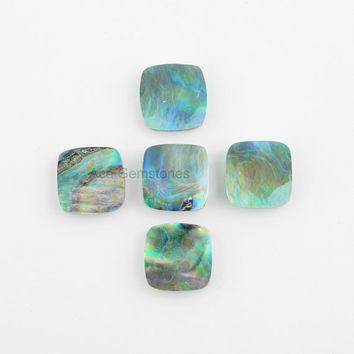 Abalone Shell Cushion Shape Loose Gemstone, Wholesale Loose Gemstone, 15mm Cushion Cabochons - 5 Pcs.