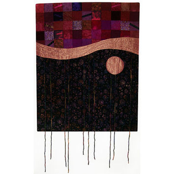 Abstract Art Quilt, Fabric Wall Hanging, Fiber Art, Gypsy Moon