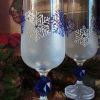 Crystal Set of 2 Hand Painted Pilsner beer glasses White and blue snowflakes
